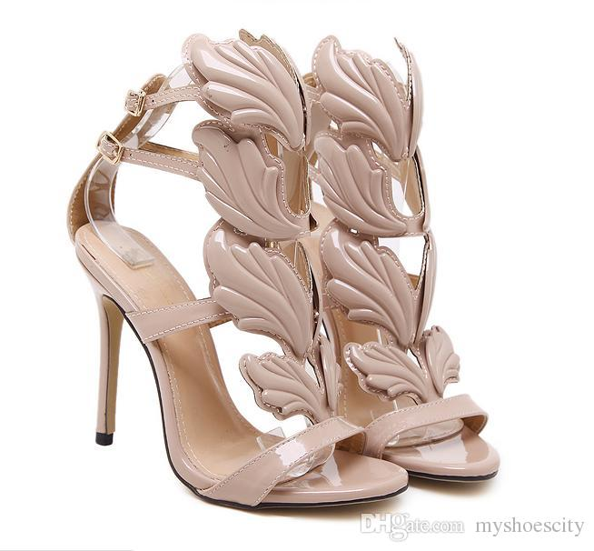Milan Fashion Chic Flame metal leaf Wing High Heel Sandals Party Events Shoes Size 35 to 40