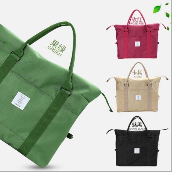 Korean Women Female Shoulder Bag Fashion Nylon Baggage Bag Folding Handbag Package Trave Bag 20 PCS LJJY200