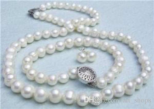 8-9 мм подлинная Белый Akoya культивированный жемчуг ожерелье браслет серьги комплект