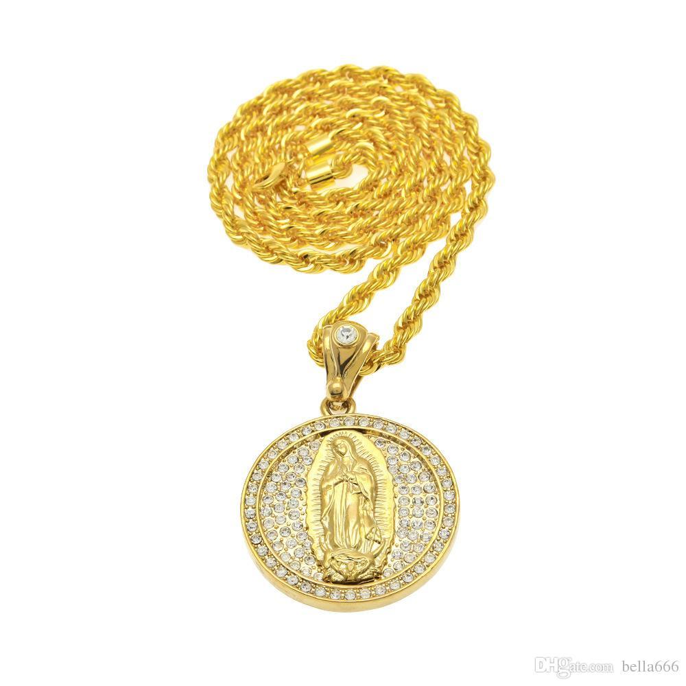 ... Hip Hop 18K Men Full Diamond Round Virgin Mary Pendant Necklace Male  Hip-Hop Gold ... e7729f510e