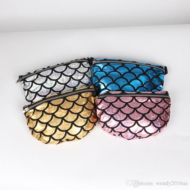 50pcs Sacchetto della vita della sirena delle donne Sequins Travel List Bling Bling Fashion Bag Borsa multifunzionale da viaggio Cosmetic Shoulder