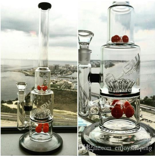 Best Jm Flow Bongs Red Beaker Tree Perc Glass Bubbler Big Bongs with Ash Catcher Thick Tall Recycler Oil Rigs Free Shipping