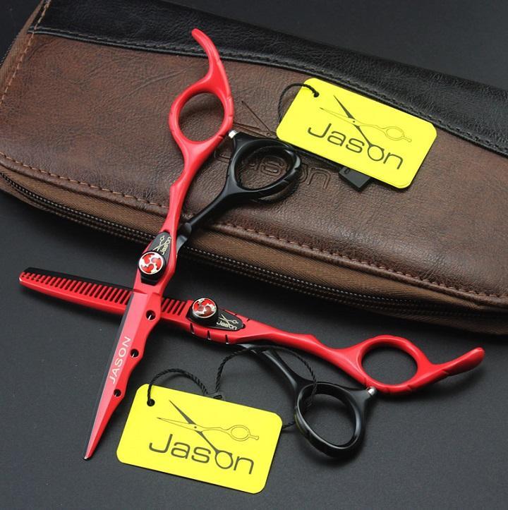 6.0inch Jason JP440C Forbici per capelli professionali Kit di parrucchieri Forbici Taglio Forbici di assottigliamento con borsa Barbiere Negozio Forniture, LZS0552