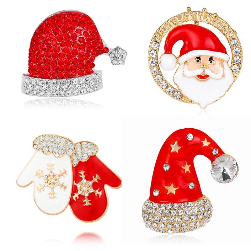 Moda Colorful Mental Natale guanti / Babbo Natale / cappello Rinestone Brooch Christmas Girl Donne Regali di Natale Brooch all'ingrosso