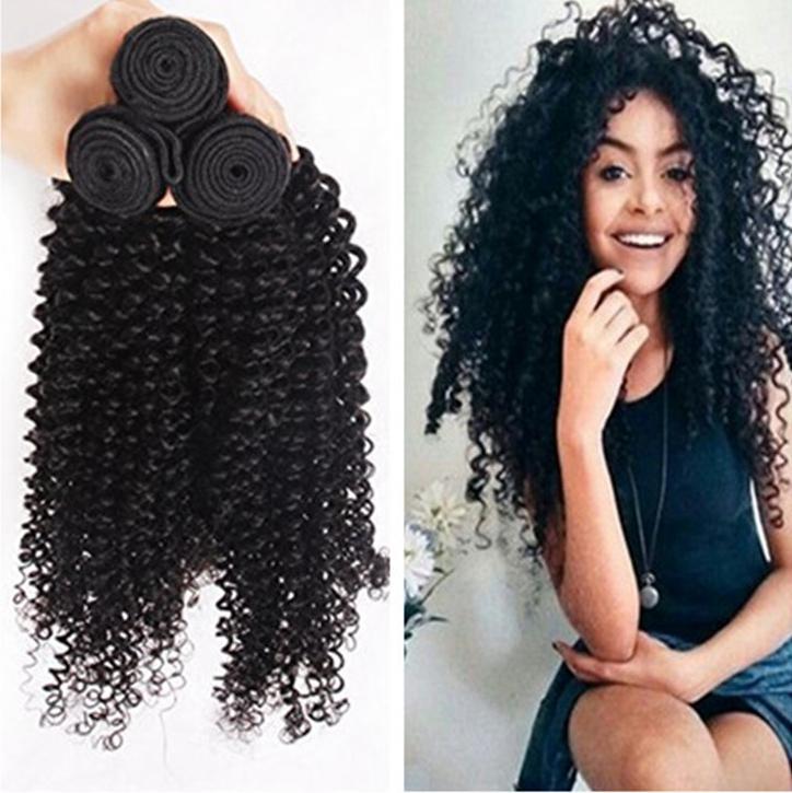 8A Kinky Kıvırcık Moğol Saç 3 ADET Kıvırcık Saç Atkı İnsan Saç Dokuma Atkı 3 Paketler Lot