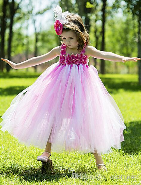 2017 Baby Christening Girl Dress Kids Floral Lace Dresses for Girls Princess Tutu Dress for Wedding Party Events Wear Girls