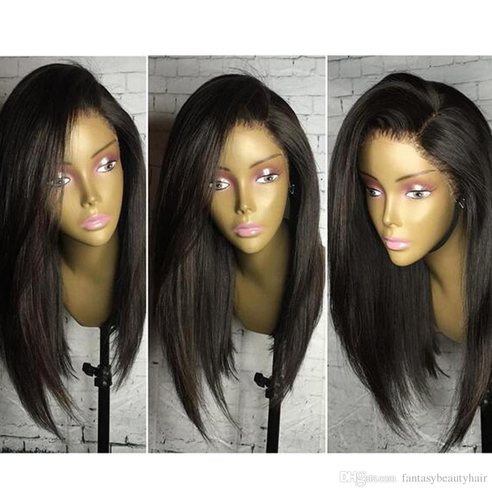 """Side Bangs Human Hair Bob Wigs Short Brazilian Lace Front Wigs Wavy Remy Hair With Baby Hair Bleacked Knots 10""""-14"""""""