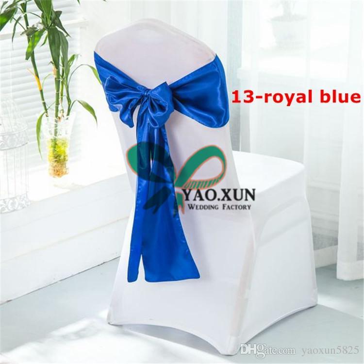 50PCS Spandex Housse de chaise avec Royal Bleu Chaise ceinture de satin