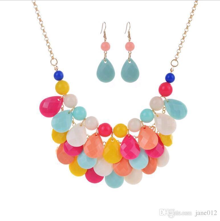 Women New Teardrop Bubble Bib Statement Chain Choker Necklace Drip Bead set hot