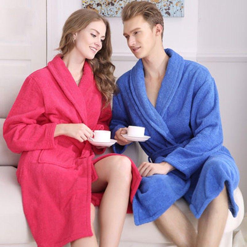 Großhandel-100% Baumwolle Unisex lange Terry Bademantel Frauen Männer Handtuch Bademantel Femme Morgenmantel Brautjungfer Roben Liebhaber Kimono Nachtwäsche