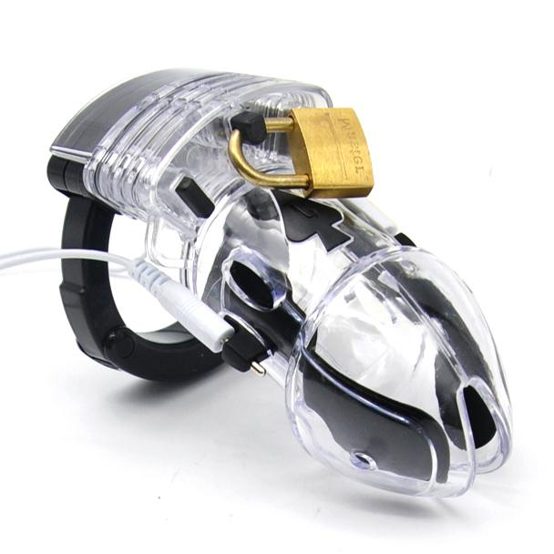 Electro Shock Sex Toys Lockdown Male Clear Electric Penis Chastity Cage Electrical Shocker Cock Cage Estim Toy For Men