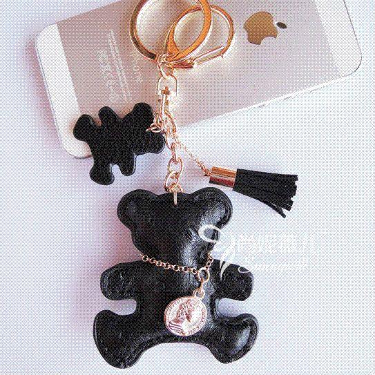 Rhinestone Embedded Little Bear Key Ring Bag Hanging Pendant Key Accessories