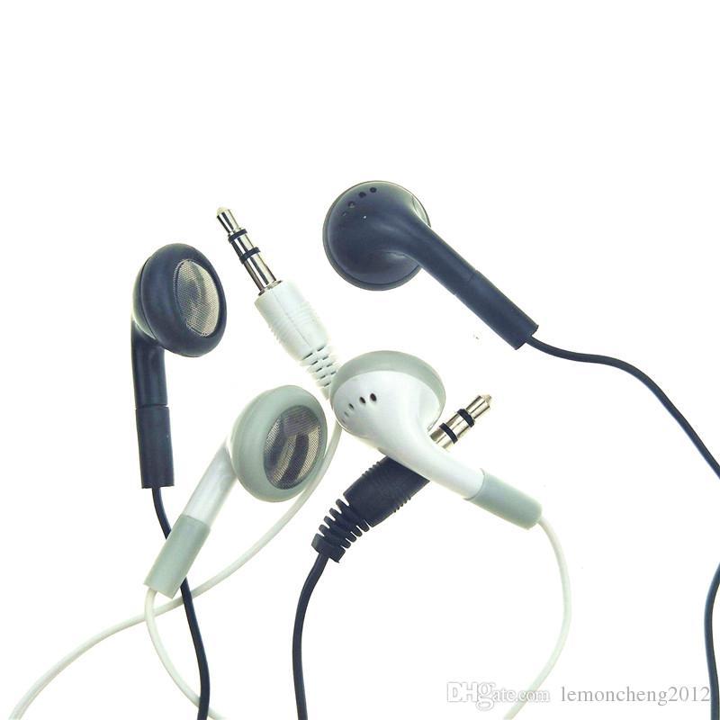 الجملة بالجملة في الأذن سماعات الأذن سماعات ستيريو 3.5mm تصميم بسيط أبيض وأسود سماعات 1000pcs الشحن مجانا