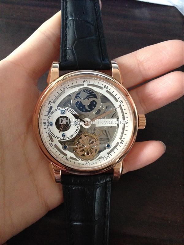 relógios inoxidável Nova alta qualidade venda masculino relógio mecânico de couro automática alça relógio de pulso 0028
