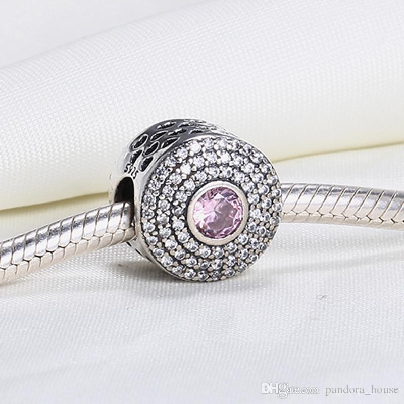Gros Real 925 Sterling Silver Non Plaqué Creux Coeur CZ Européenne Charmes Perles Fit Pandora Serpent Chaîne Bracelet DIY Mode Bijoux