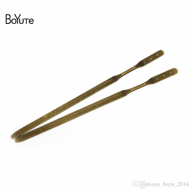 BoYuTe 10 조각 150 * 5MM 플랫 헤어 스틱 3 구멍 4 색 금속 Diy 헤어 액세서리 여성을위한