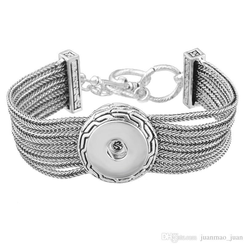 Имбирь Оснастки многослойные цепи серебряный браслет взаимозаменяемые 18 мм кнопка Нуса кусок Diy ювелирные изделия для женщин подходят 18 мм Оснастки Шарм кнопка