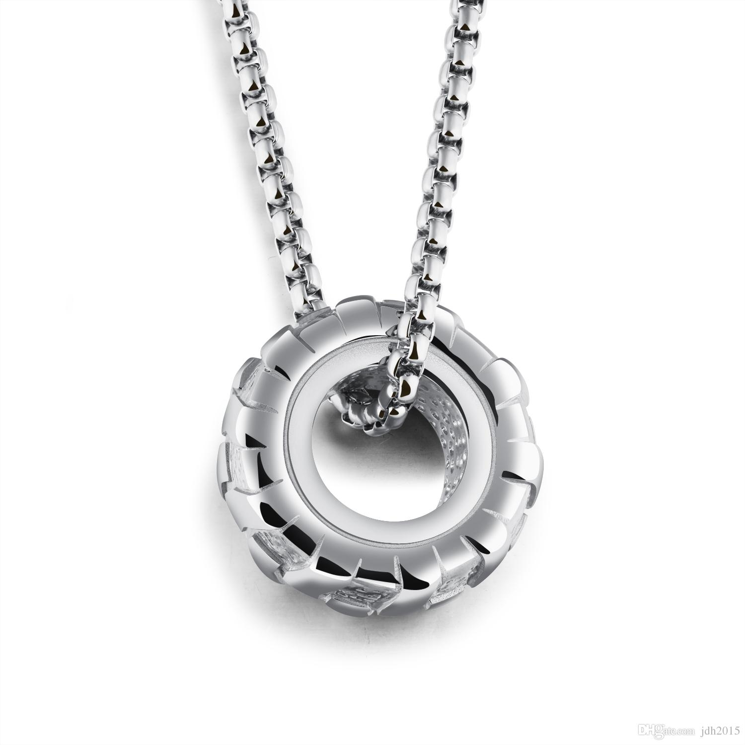 """Biker Mens Stainless Steel Rim Tyre Pendant Necklace with 24"""" Chain"""