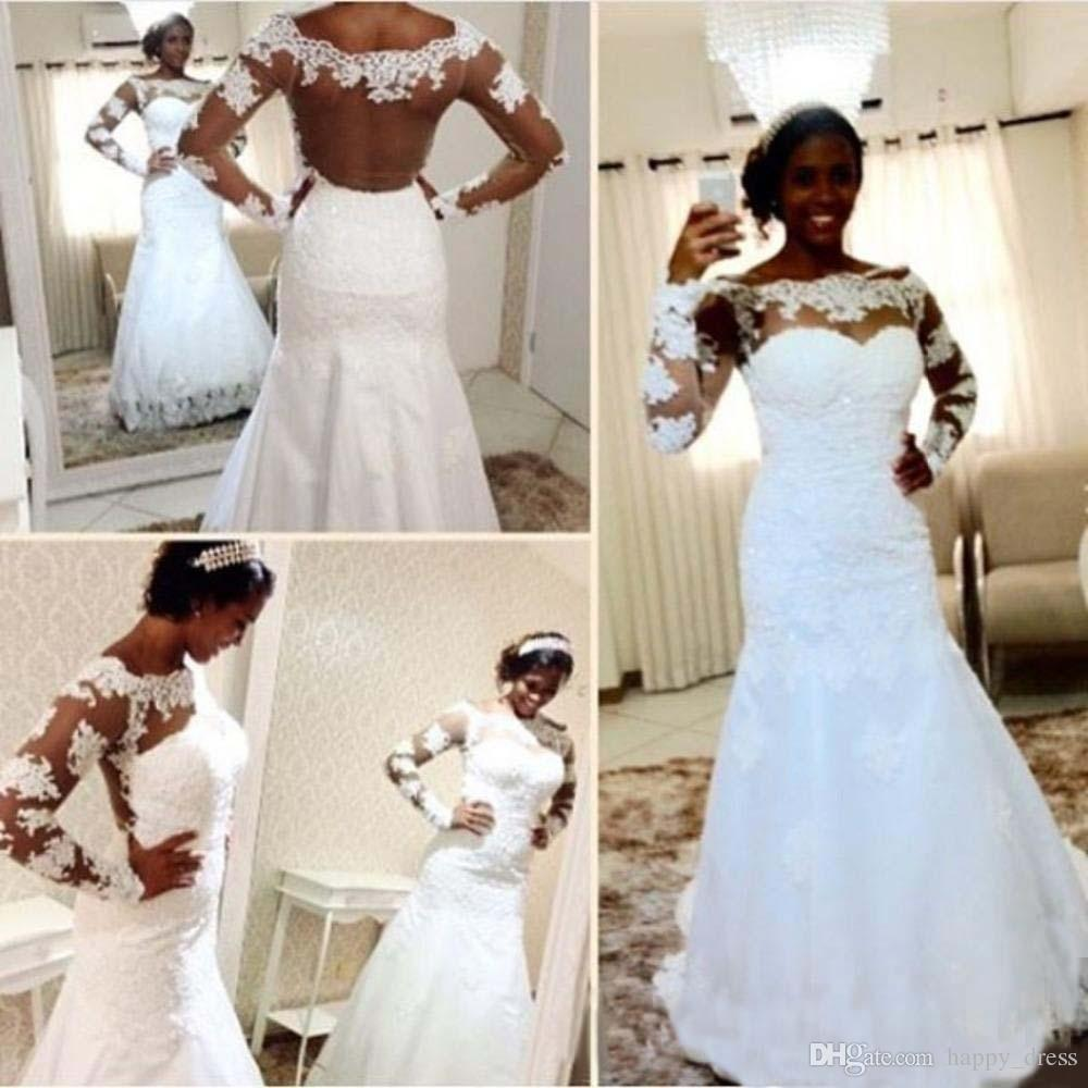 Cheap 2017 sexy see through mermaid wedding dresses sheer long 2017 sexy see through mermaid wedding dresses sheer long sleeves lace appliques plus size garden country ombrellifo Image collections