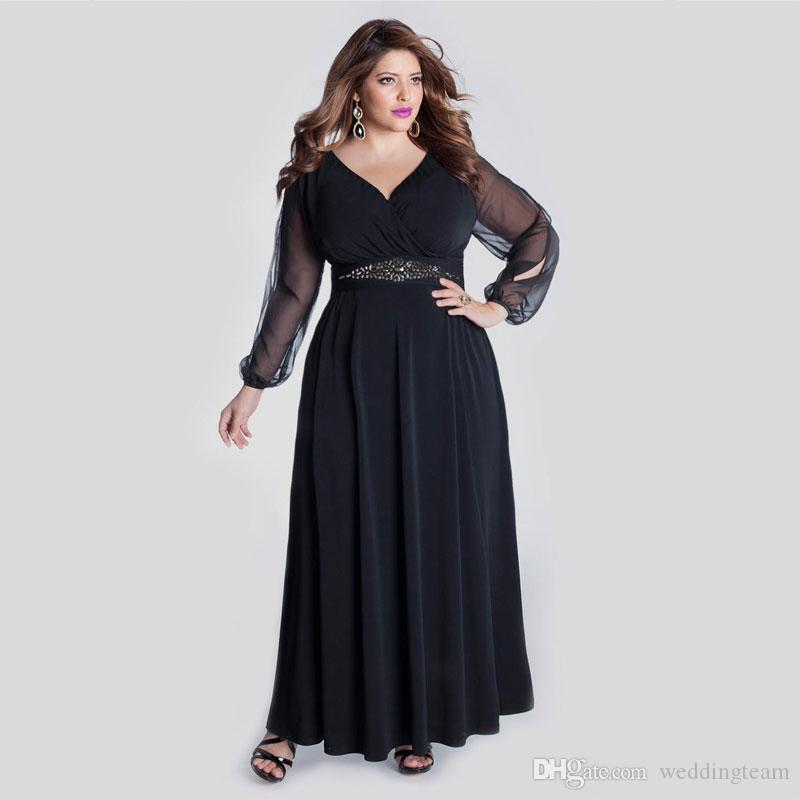 Stylish Plus Size Beaded Evening Dresses With Long Sleeves V Neck Chiffon  Evening Gowns A Line Ankle Length Black Formal Dress Plus Size Dressy ...