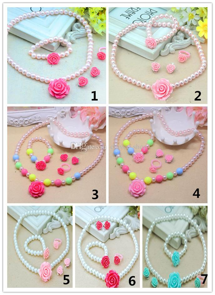 Girl Pearl Necklace Decor Jewelry Set with Bracelet Ring Kid Birthday Gift Best