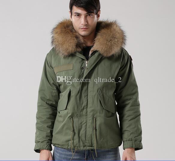 2017 Brown Fur Trim Hoody Men Winter Coats Mr Mrs Itlay Khaki ...