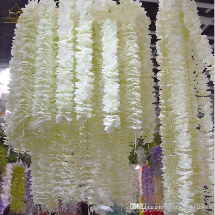 100 teile / los Elegante Weiße Orchidee Glyzinien Reben Jeder Streifen 79 Zoll Seide Künstliche Blume Kränze Für Weding Dekoration