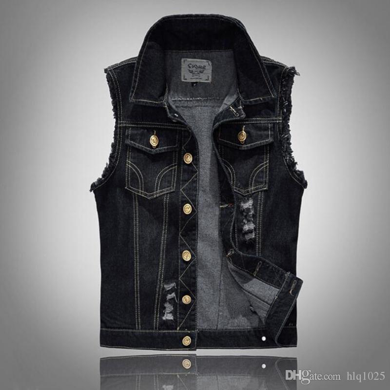 économiser jusqu'à 60% à vendre nouveau design Acheter Hommes En Difficulté Denim Gilet Bleu Sans Manches Jeans Veste En  Jean Casual Gilets Pour Hommes Gilet Biker Homme De $37.18 Du Hlq1025 | ...