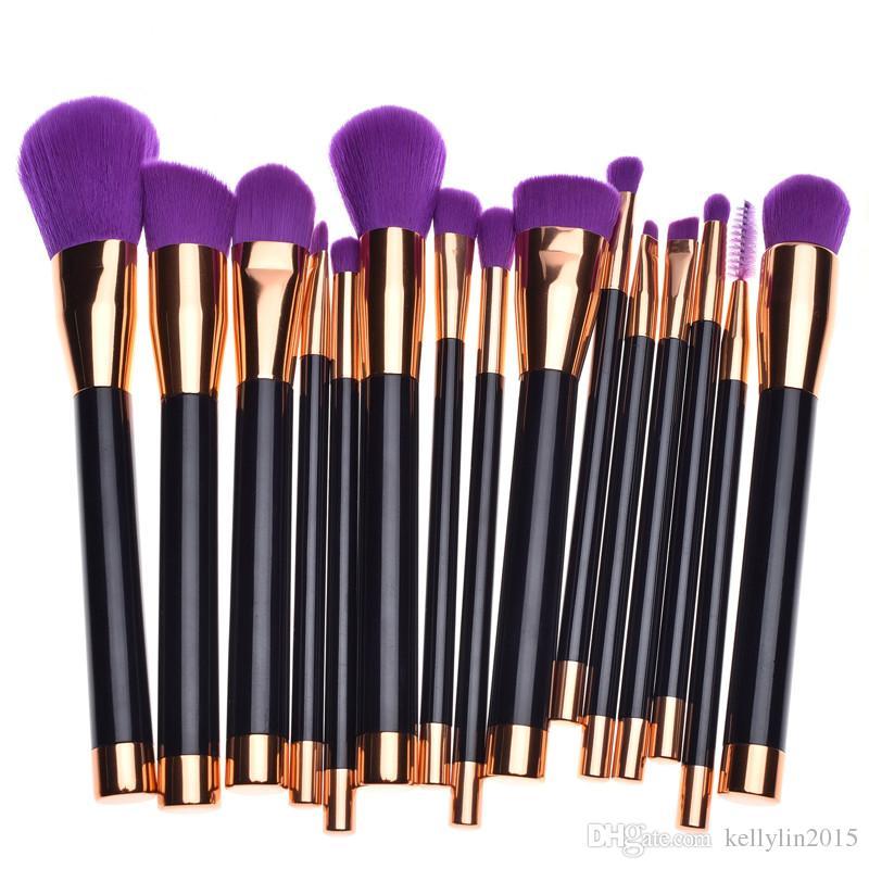 Pro Makeup Brushes Set 15pcs Powder Foundation Cosmetics brush Gold Purple Make Up Brushes Kit High quality