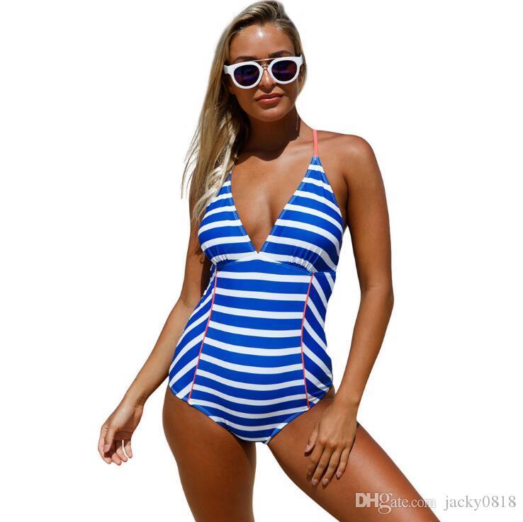 Полосатый один штук назад слинг крест глубокий V купальник женщины леди бразильский купальники летний пляж купальники синий белый 2XL