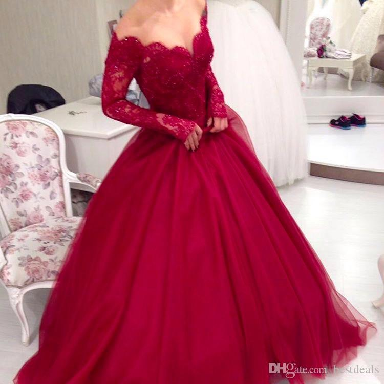 Burgundy Tulle Ball Gown Prom Dresses