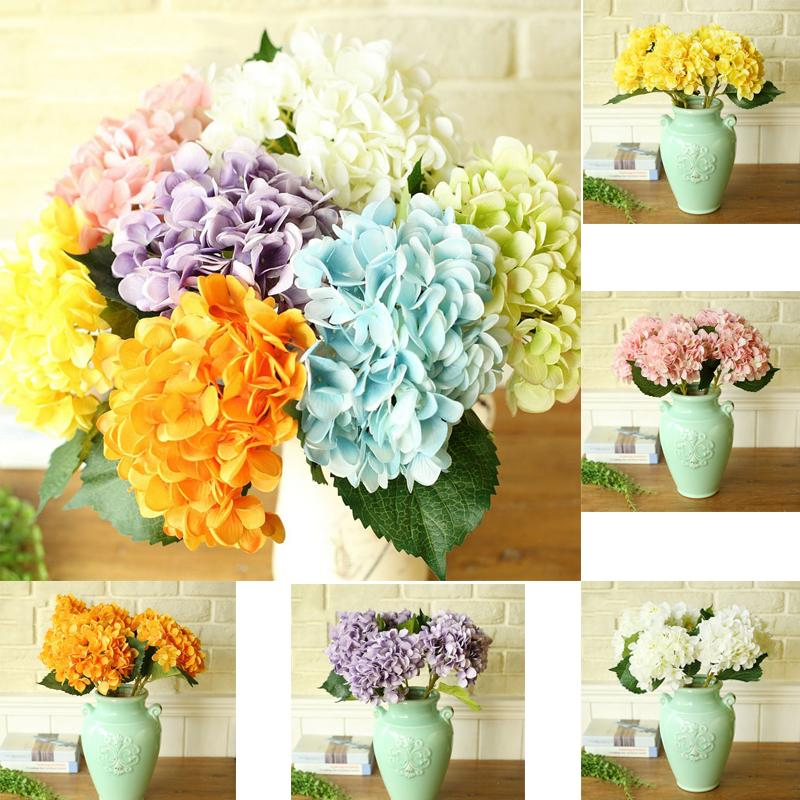 45cm 7 색 인공 꽃 수국 꽃 꽃다발 웨딩 파티 홈 인테리어 꽃 수국 플로레스 Artificiales