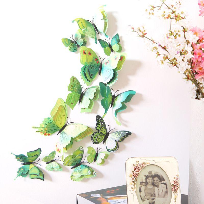 12pcs / lot 3D doppio strato farfalla adesivi murali casa fai da te decalcomanie della parete della decorazione per soggiorno camera da letto cucina servizi igienici per bambini camera decorazioni