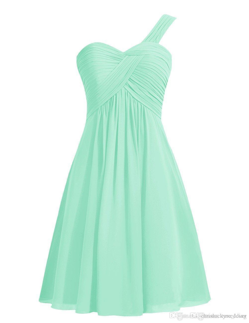 Mint Verde 2017 Barato A Linha Dama de Honra Vestidos Chiffon Rosa Um-Ombro Convidado Do Casamento Vestidos de Festa Vestidos de Dama de Honra Sob 100