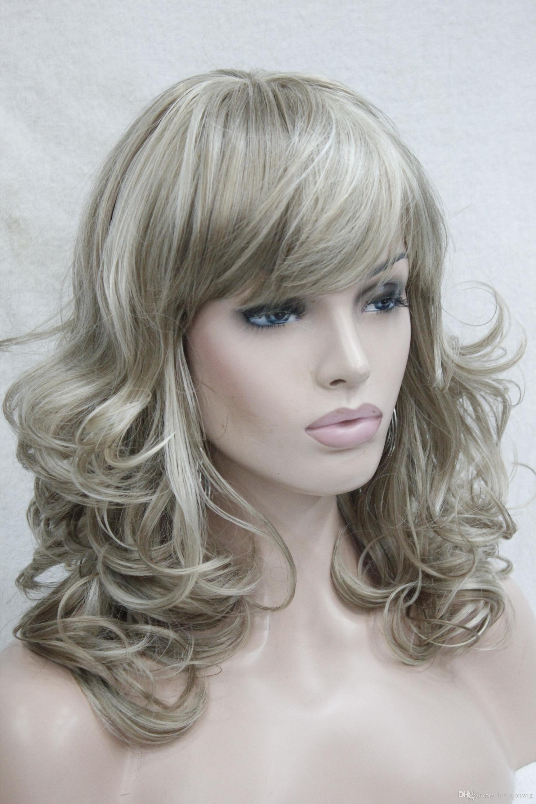 Hivision 2017 new charming fashion charming healthy flaxen with blonde medium length curly women's bangs wig