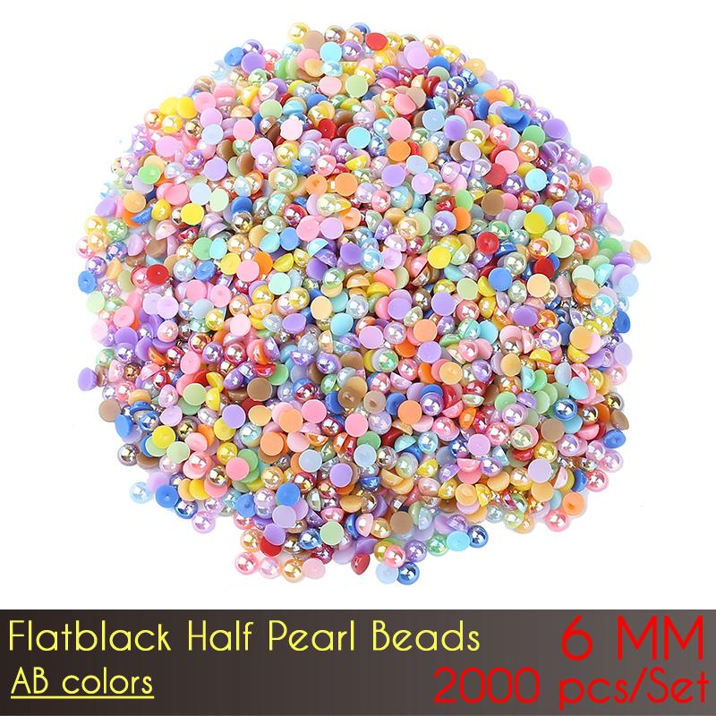 ABS Flat Back Half Pearl Beads 6mm AB Color 2000pcs/Set Resin Half Round Pearl Beads Gems Pearl Beads Nail Art DIY Decoration