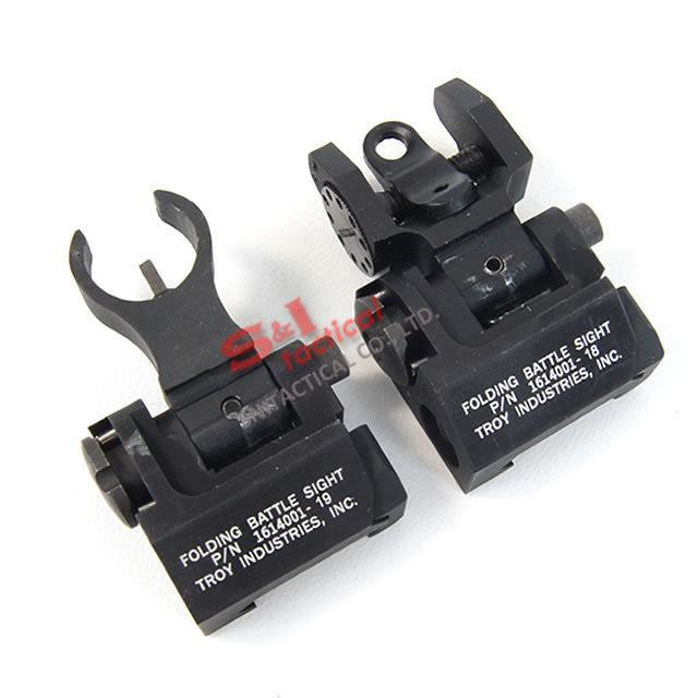 Tactical Troy Micro Folding Battle sight Front and Rear Back-up sight HK Style Black