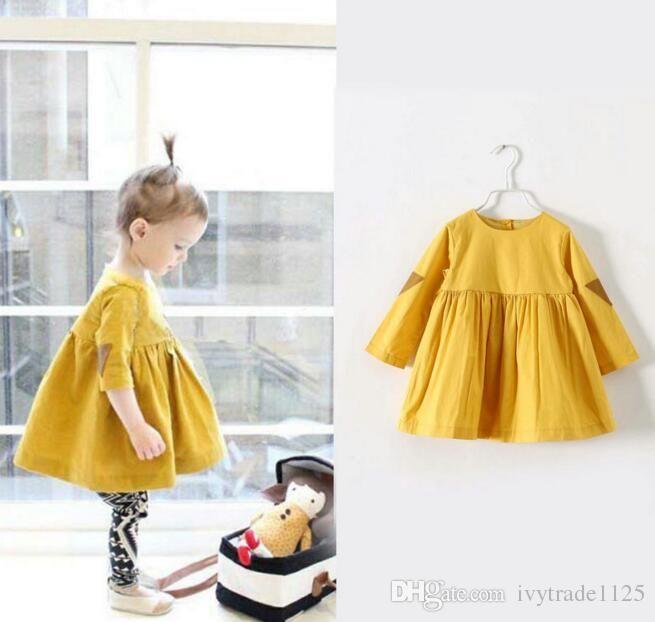 INS новые поступления желтый цвет 100% хлопок девушка платье дети Лолита стиль круглый воротник с длинными рукавами дети девушка прохладный бутон платье
