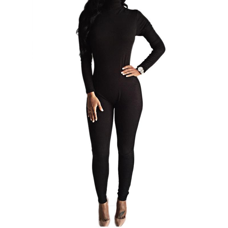 Al por mayor- 2016 Recién llegado Sexy Body negro Bodycon Rompers Jumpsuit para mujer Delgado de manga larga Mono de una pieza Monos Macacao