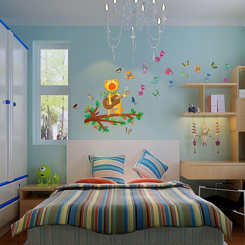 SK6026 Removable Music Cat Decals Cartoon Wall Stickers Home Decor Branches Butterfly Wall Stickers Art Decor