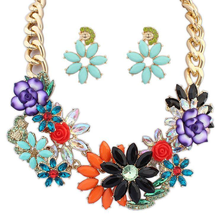 Fine Jewelry sets Europe and the United States and the street to shoot the trend of retro earrings necklace set manufacturers wholesale jewe