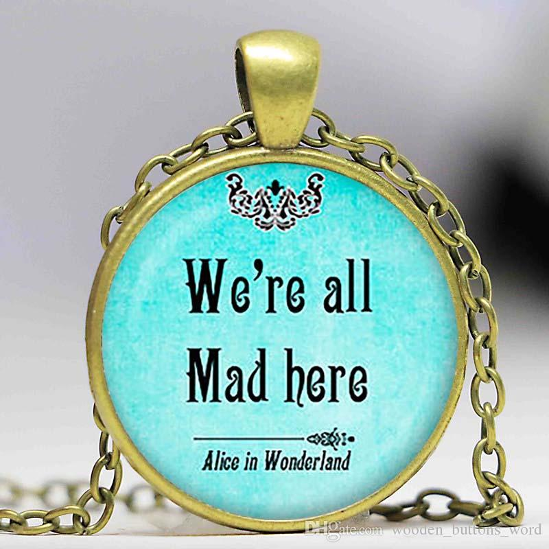 Alice in Wonderland We/'re All Mad Here Pendant Silver Necklace New in Gift Bag