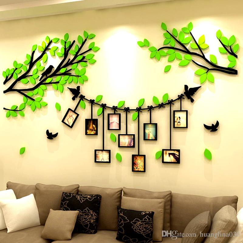 Wholesale 3d Diy Acrylic Family Tree Bird Wall Stickers With Photo ...