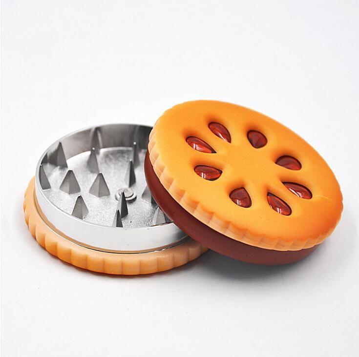 1 pacchetto Arancione Biscotto Forma Herb Grinder casa metallo Tabacco Grinder Erbe sigaretta di tabacco Grinder