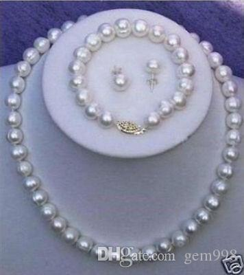 Free Shipping >>>>Genuine Cultured Freshwater White Pearl Necklace Bracelet & Earring Set A+08