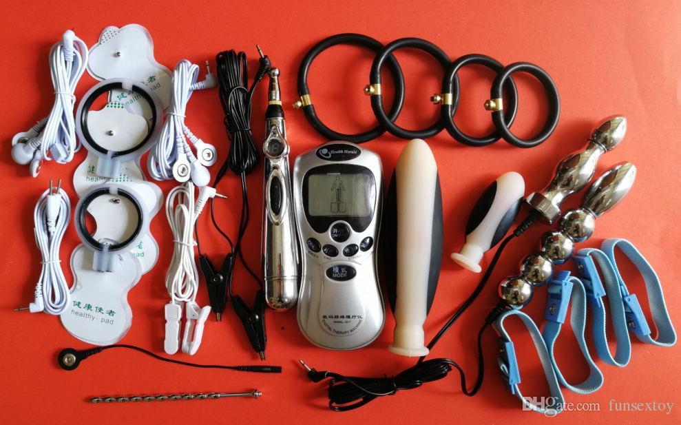 BDSM Choque Elétrico Brinquedos Sexuais Produtos Jogo de Engrenagem de Bondage Electro Choque Breast Cups Penis Anel Plugue Anal Clipe de Ouvido Granada Almofadas Pegajosas