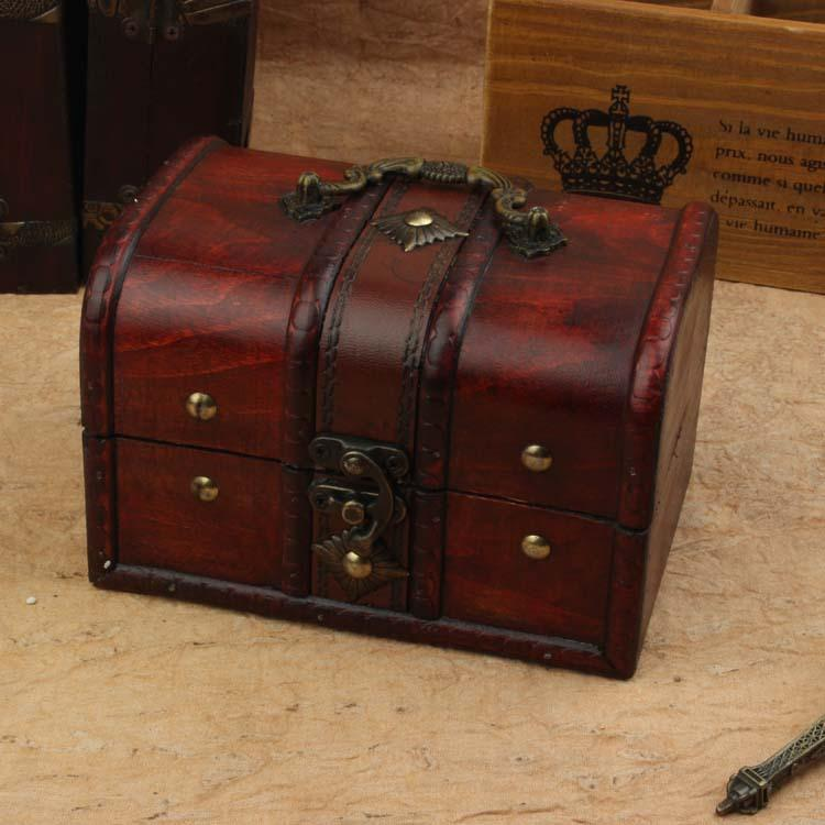 2 Pcs /Set Hot Sale Classic Storage Boxes European Princess Jewelry Case Antique Wooden Gift Luxuries Storage Boxes Travel Cosmetic Bag