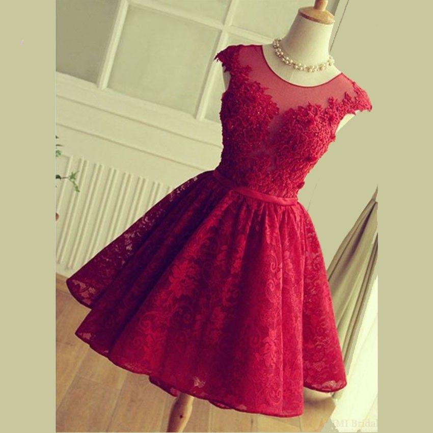 Compre Elegante Vino Ligero Encaje Rojo Vestidos De Fiesta Cortos Fiesta De Graduación Vestido Con Cordones Hasta La Rodilla A 9046 Del