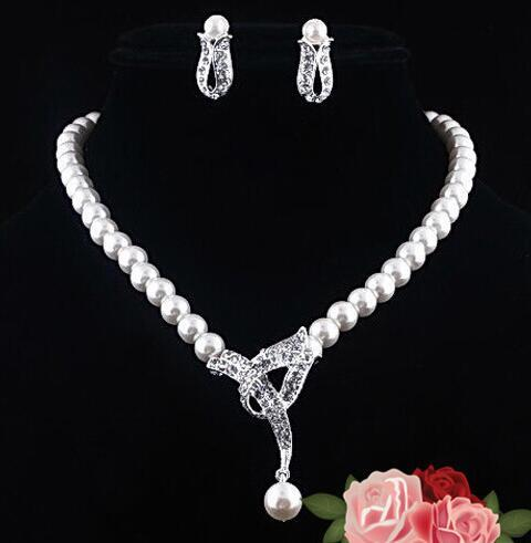 Pearl Bridesmaid Jewelry Set For Wedding Crystal Rhinestone