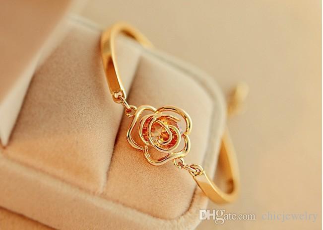 Новая мода Женская Цветочный Кристалл браслет золото манжета цепи девушки ювелирных изделий браслета шарма браслеты розы Цепные браслеты Роскошные аксессуары